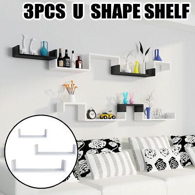 3Pcs U Shape Modern Floating Wall Mount Display Shelves Storage Shelf White US