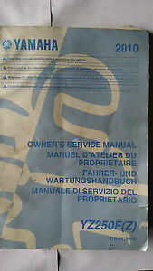 Yamaha YZ250F (Z) YZ 250 F ( Z ) 2010 Owners and Service Manual