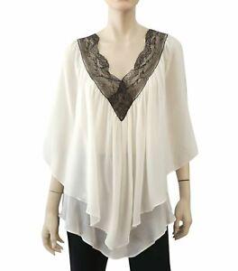 KIKI-DE-MONTPARNASSE-Top-White-Silk-Lace-Babydoll-Blouse-S
