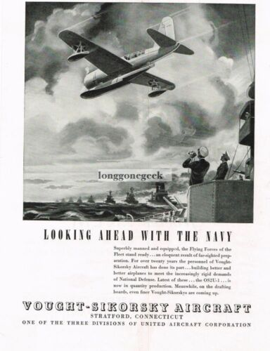 1939 Vought Sikorsky US Navy OS2U1 Observation Scout Airplane art Vtg Ad