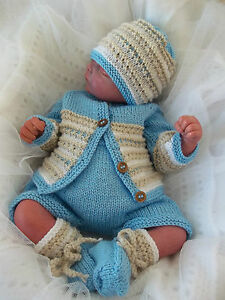 Knitting-Pattern-49-TO-KNIT-Baby-Boys-or-Reborn-Dolls-Cardigan-Hat-Booties