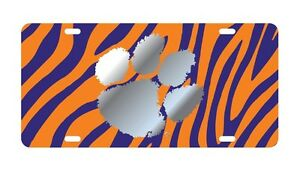 Car Tag CLEMSON UNIVERSITY Tigers Satin Silver Mirrored License Plate
