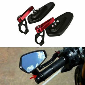 Red-amp-Black-7-8-034-22mm-Motorcycle-Motorbike-Alloy-Bar-End-Side-Rearview-Mirrors-x2