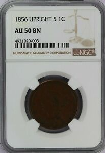 1856 NGC Braided Hair Large Cent/Penny AU50BN Upright 5 Brown