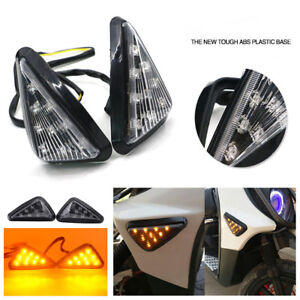 2x Motorcycle 12V Euro Triangle Flush Mount Turn Signal Smoke Amber LED Light AP