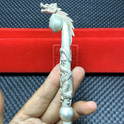 s925 style Silver pipe Smoking Statue Sacred Dragon Head hand-made Tobacco rod A