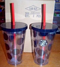NEW 2 Starbucks Tumblers Black Polka Dot Clear Acrylic Travel Cups 16oz w/Straw