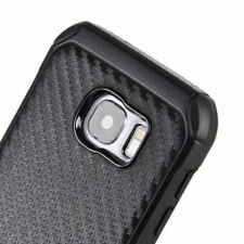for Samsung Galaxy S7 - Black Carbon Fiber Hybrid Armor Impact Case Cover Skin