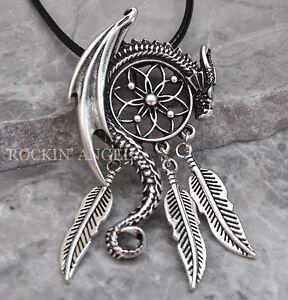 Antique silver plt dragon dreamcatcher pendant necklace viking norse image is loading antique silver plt dragon dreamcatcher pendant necklace viking mozeypictures Images