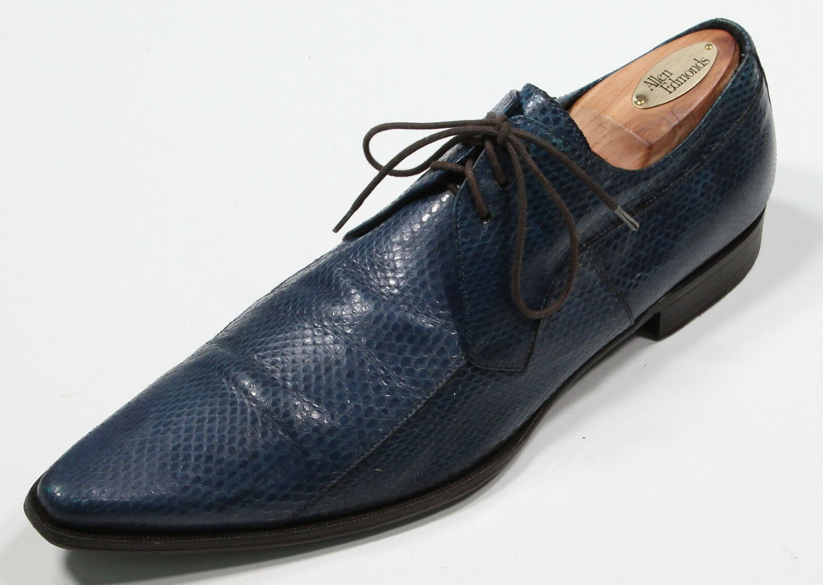* DOLCE Snakeskin & GABBANA * Cobalt Blue Snakeskin DOLCE Point Toe Lace-Up Oxfords US 8.5 c50960