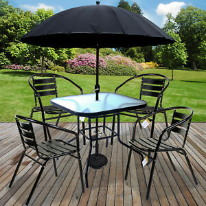 3PC/5PC BLACK METAL BISTRO SET WITH PARASOL & BASE ROUND SQUARE TABLES STACKING