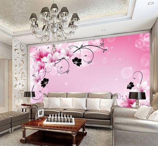 3D Foglie nere, fiori Parete Murale Carta da parati immagine sfondo muro stampa