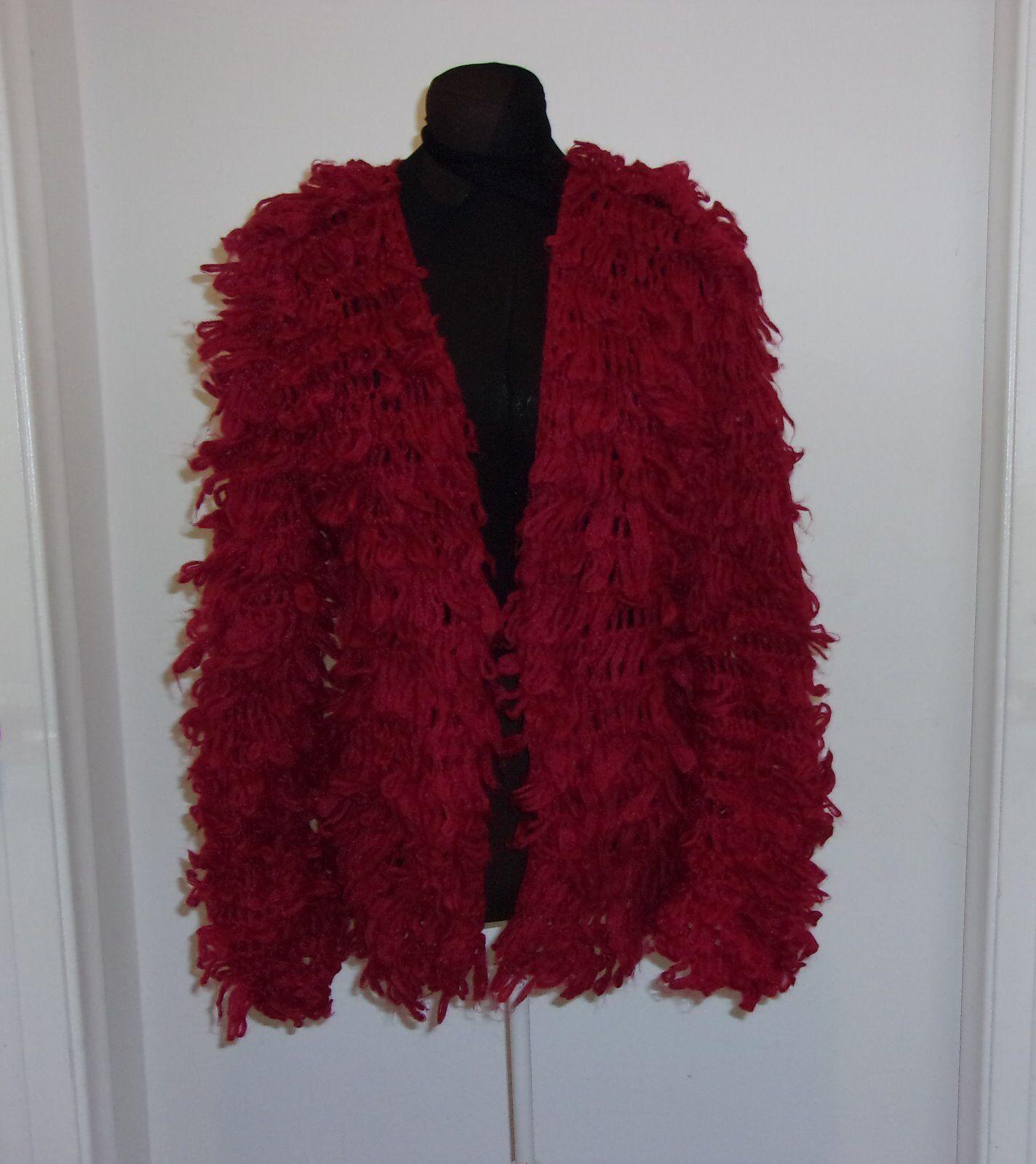 Rouge Boucle laine vintage Femme Manches Longues Sans Col Châle Pull Taille M-L
