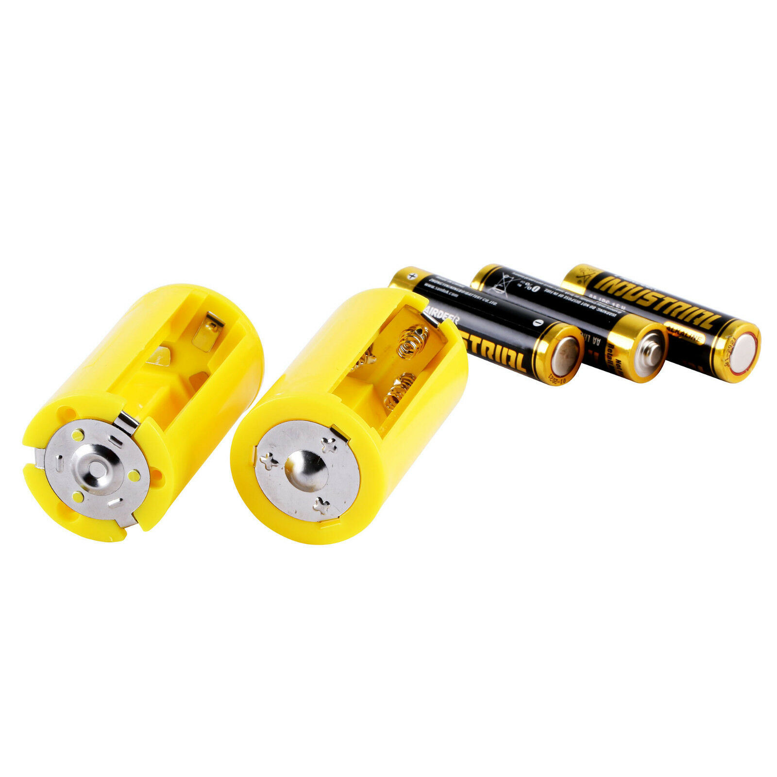 Acxico 8 Pcs AA to Size D Battery Adapters Converter Cases Plastic Parallel Yellow