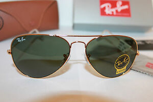 2588126db112b Ray Ban RB 3025 L0205 58mm Arista Gold Green G-15 Unisex Aviator ...