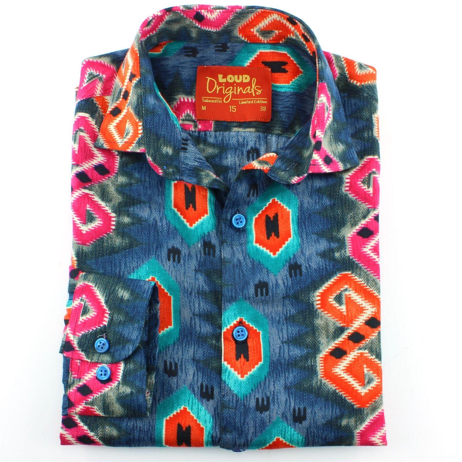 Camicia da uomo Loud Originals Slim a a a spina di pesce blu rétro psichedelico 770c67
