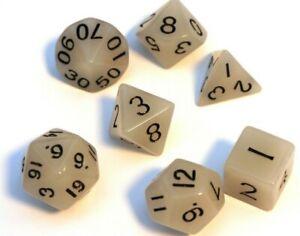RPG Tabletop DnD Rollenspiel w4-w20 Würfel Set 7-teilig dice4friends Gelb Weiß