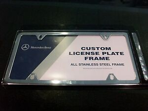 Oem genuine mercedes benz polished stainless steel for Mercedes benz number plate holder