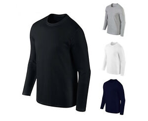 Mens-Cotton-Solid-Crewneck-Tops-Casual-Long-Sleeve-Thermal-T-shirts-XS-XXL