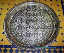 Moroccan Tea Tray Cocktail Server Arabesque Design Silver Plated 14 Inch Round