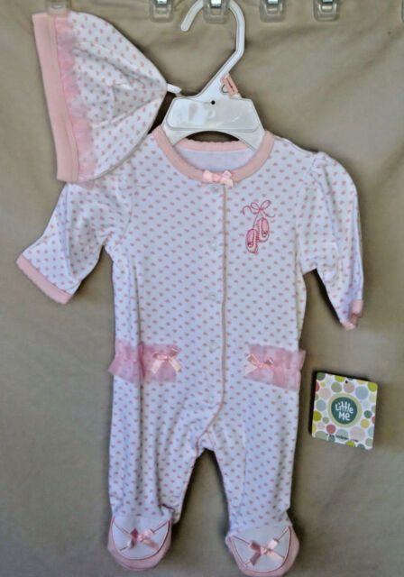 LITTLE ME 100/% Cotton White Floral Rose Print Footie w//Hat Girl SIZE 3 MO NWT