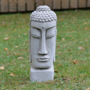 Image Is Loading TEMPLE BUDDHA HEAD Hand Cast Stone Garden Ornament