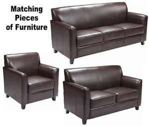 MATCHING Brown Leather Furniture Sofa Loveseat Chair Sofas Chairs ...