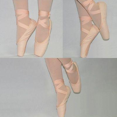 Mädchen Frauen Spitzenschuhe Spitzentanz Ballettschuhe mit Band Schläppchen Neu