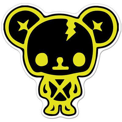 """Teddy Bear Cute Black Yellow Punk car bumper sticker decal 4"""" x 4"""""""