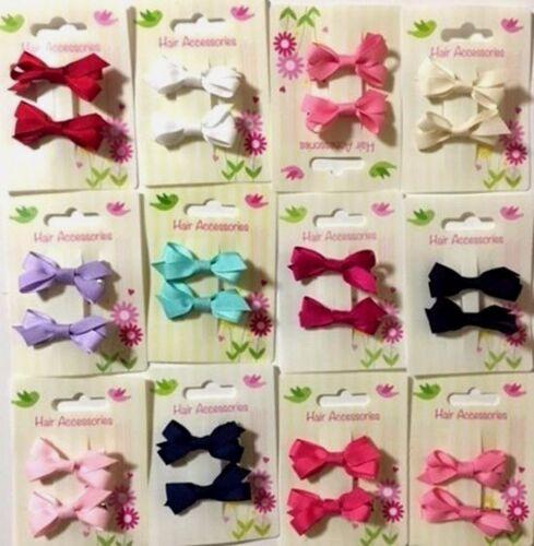 Pretty Mini Pair Grosgrain Ribbon Bow Girl Toddler Baby Hair Clips Slides Pins