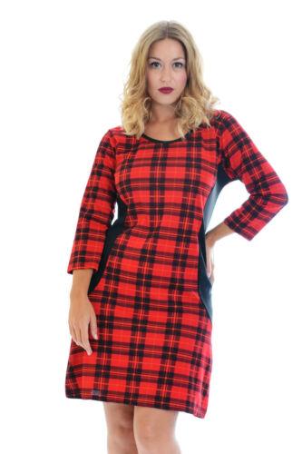 Nouveau Robe Femme Tartan mesdames plus taille moulante scotish vérifier midi nouvelle