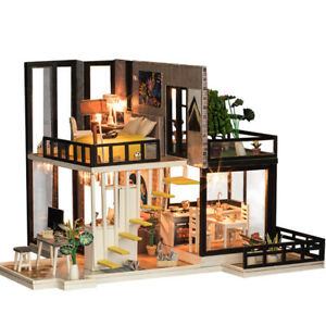 Details about DIY LED Wooden Dollhouse Loft Apartments Furniture Kit  Christmas Birthday Gifts