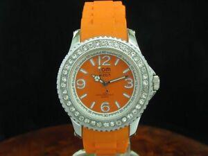 Tom-Watch-Crystal-Mandarin-Orange-44mm-Unisex-Silikon-Armbanduhr-Ref-WA00017