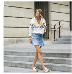 0474e3d7 ZARA WHITE FLORAL EMBROIDERED SHIRT TOP BLOUSE 0881/012_XS S M NWT ...