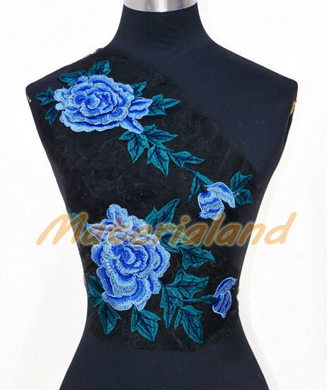 Sky Blue + Green Rose Flowers Venise Lace Applique Trims Motif Embroidery Craft