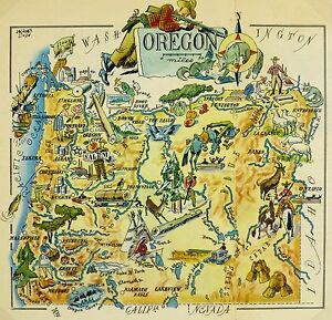 Vintage Oregon Map.Oregon Antique Vintage Pictorial Map Ebay