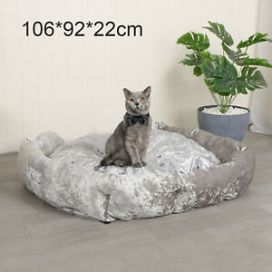 XL-Crushed-Velvet-Dog-Bed-Soft-Washable-Fleece-Cushion-Warm-Luxury-Pet