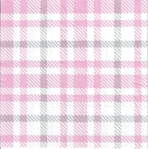 4 Single paper decoupage napkins 998 Pink /& grey Scottish tartan  design