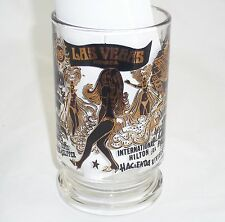 Vintage Las Vegas Casino Clear Glass Pint Beer Mug Black Gold Showgirl Stripper