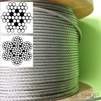 flex EDELSTAHL DRAHTSEIL Seil Stahlseil Edelstahlseil 1 2 3 4 5 6 8 mm A4 V4A
