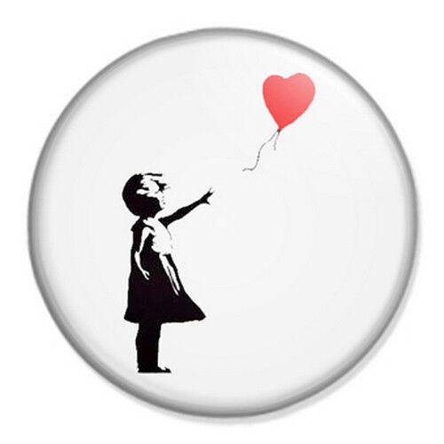 "Banksy Girl With Heart Balloon 25mm 1"" Pin Badge Button Street Art Stencil"