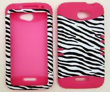 Silicone Hybrid Case For HTC One X Zebra Pink Skin