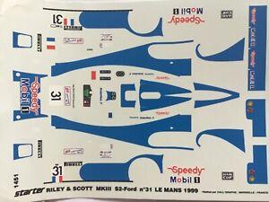 1-43-Decal-Riley-amp-Scott-31-Speedy-Gache-Formato-Thevenin-24-h-Le-Mans-1999