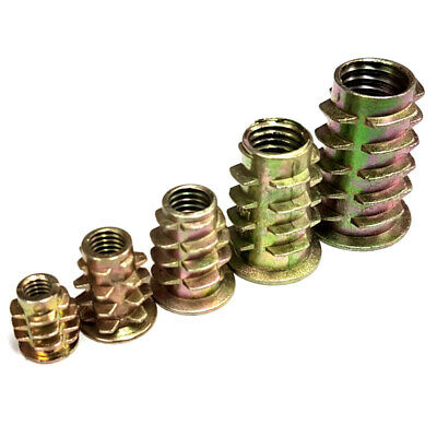 M10 x 25mm Threaded Wood Type D Insert Nuts Pack of 50