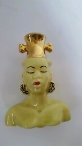 Vintage Nubian Native African Blackamoor Head Vase Unmarked