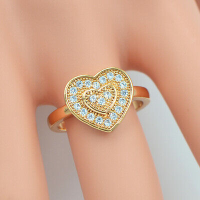 Fashion Women Gold Plated Micro Pave Cubic Zirconia CZ Love Hearts Eternity Ring