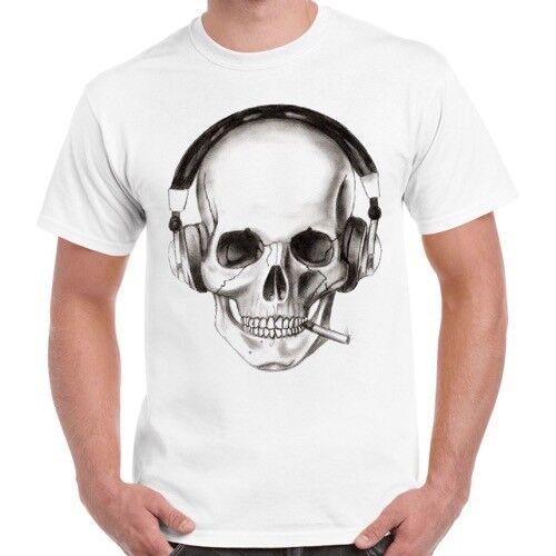 Dj Skeleton Tumblr Smoking Funny Cool Music Retro T Shirt 137