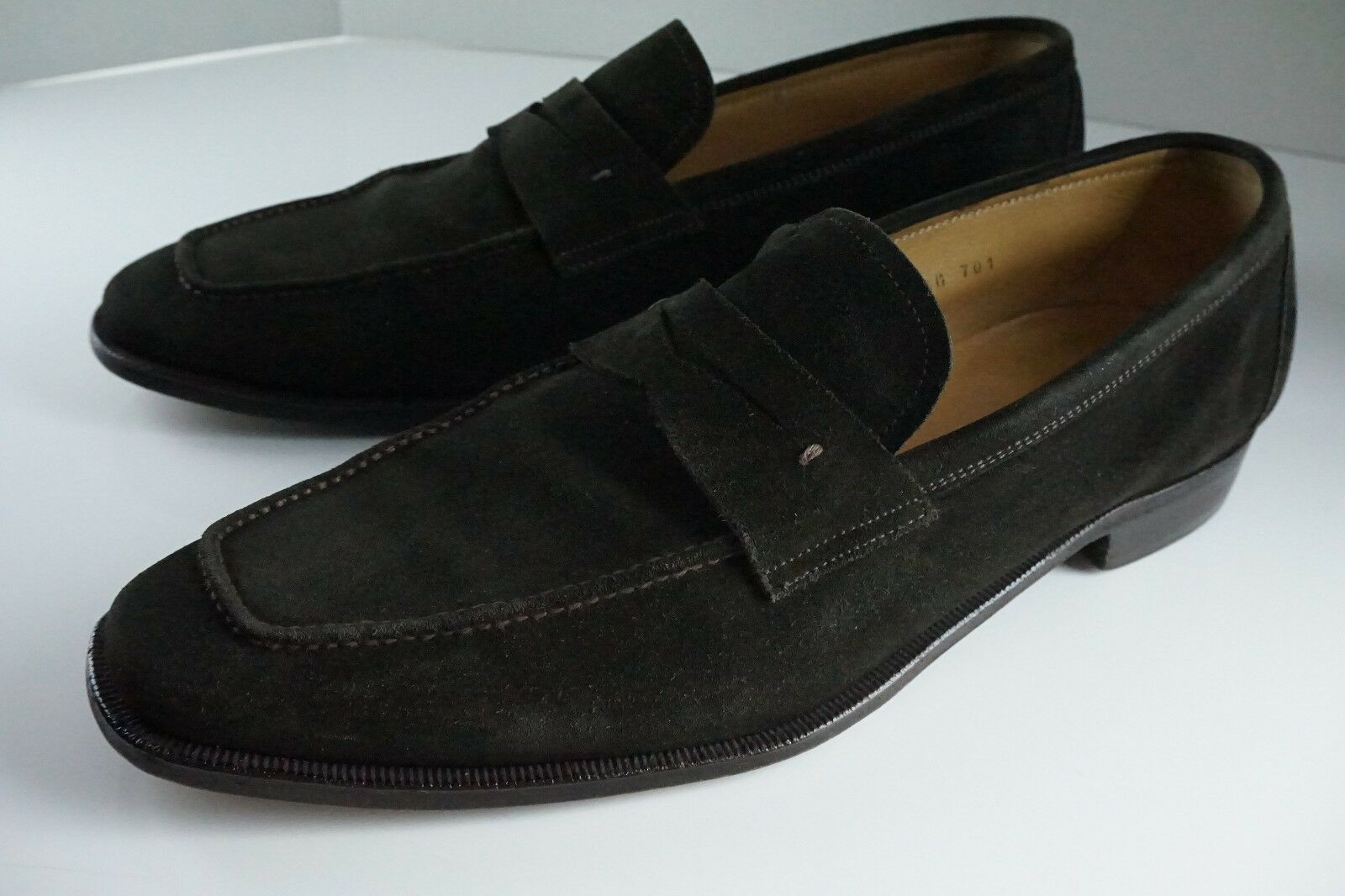 WILKES BASHFORD Wilson & Dean Brown Suede Penny Loafers Dress shoes Mens 10.5