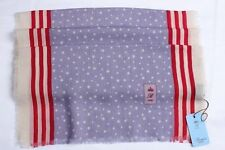 NEW! BATTISTI NAPOLI STARS AND STRIPES LILAC RED & WHITE SCARF WOOL/SILK SCA08