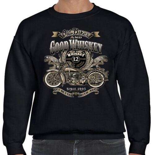 Whiskey Motorcycle Sweatshirt Old Vintage Classic Bike Bobber Chopper Biker 206